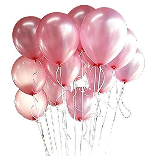 Haodou 100 Stücke Ballons Runde Latex Hochzeitsdekoration Luftballons Für Weihnachtsdekoration Hochzeit Geburtstag Party (Rosa)