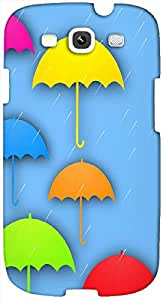 Timpax Protective Hard Back Case Cover Printed Design : Six colored umbrellas.100% Compatible with Samsung I9300 Galaxy S III ( S3 )