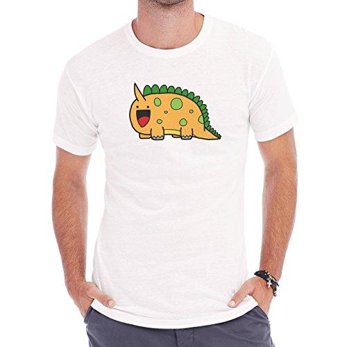Dinosaur Cute Want To Eat Orange Herren T-Shirt Weiß
