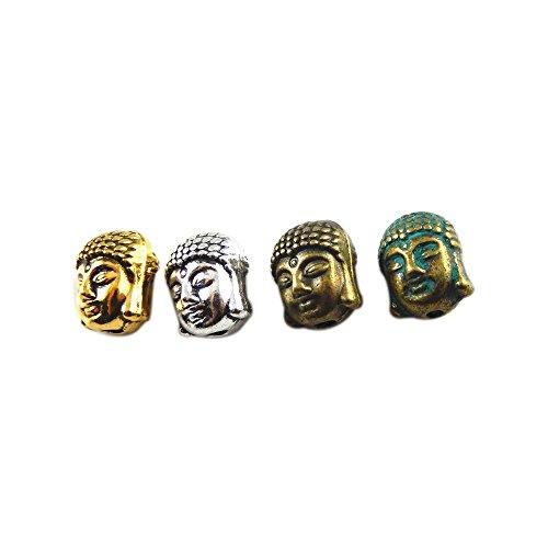 JulieWang 60 Stück gemischte Antik-Bronze-Silber-Anhänger, Budda-Kopf-Perlen für Schmuckherstellung - Perlen-anhänger