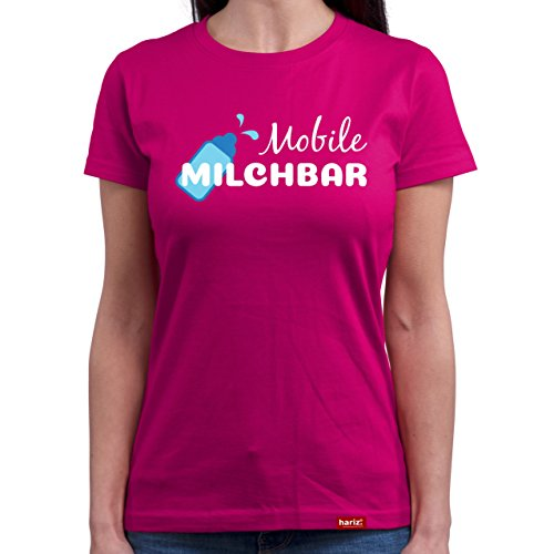 HARIZ  Mobile Milchbar//Original Damen T-Shirt Rundhals - 16 Farben, S-XXL//Gratis Geschenkkarten | Weihnachten | Muttertag | Geschenk #Mama Collection Fuchsia L