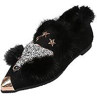 ღLILICATღ Mujer Zapatos de Algodón de Puntiagudo Zapatos Planos del tacón bajo del Rhinestone Zapatos de Partido Calzado Zapatos Casual de señoras