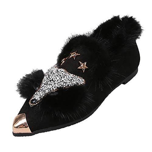 COZOCO Damen Strass Plüsch Winterschuhe Fox Form Mode Schuhe rutschfest Spitze Zehen Flache Schuhe Slip Auf Freizeitschuhe(Schwarz,35 EU)