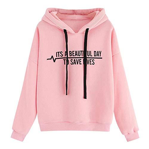 YEBIRAL Damen Kapuzenpullover, Beautiful Day Sweatshirt Brief Drucken Hoodie Kapuzenpulli Teenager Mädchen -