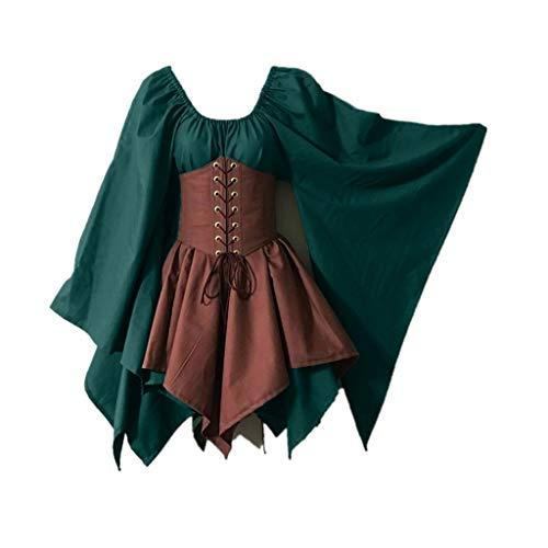 Dota 2 Cosplay Kostüm - ZEELIY Halloween Bekleidung Damen Mittelalter Cosplay Kostüme Gothic Retro Langarm Korsett KleidGeburtstagsparty Kleid Bankettkleid Frauen Rundhals Batwing Dress