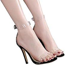 Mujer Tacones Altos Sandalias Zapatos Punta Abierta Stileto Transparente  Sandalias 032bc1610dab