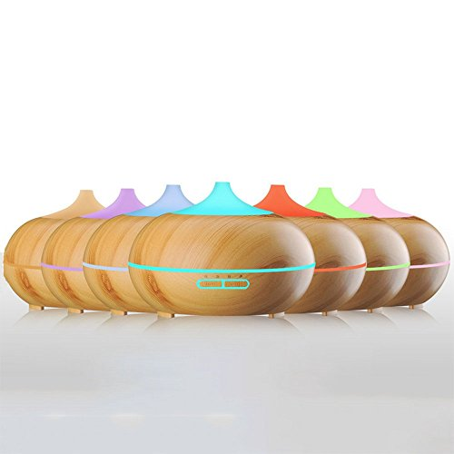 Preisvergleich Produktbild Nclon Ultraschall vernebler, Holzmaserung Aroma diffuser Automatische abschaltung 7 farben led Timer-einstellungen Aroma diffuser Geräuscharmer befeuchter-B 168x121mm