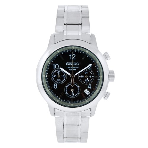 Seiko Men's Quartz Watch with Black Dial Analogue Display and Silver Stainless Steel Bracelet SSB007P1
