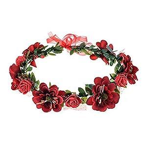 flyWANG Blumen-Stirnband Rose, handgefertigt, Blumengirlande, Haarreif, Krone, Dekoration, verstellbar, für Damen und Mädchen, Kopfschmuck für Hochzeit, Fotografie, Party, Jahrestag