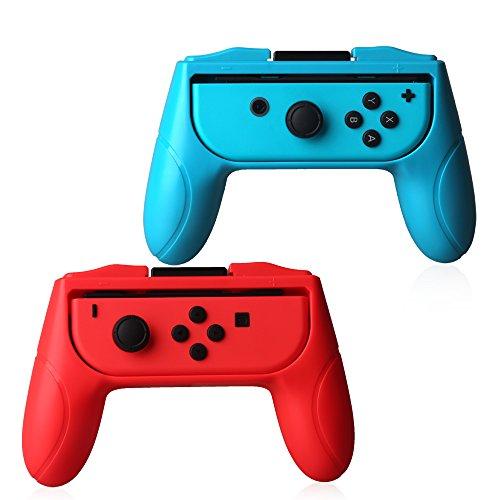 vseer Joy-Con Griff-Ringen für Nintendo, Nintendo Switch Joy-Con Verschleißfest Griff Grip (Rot und Blau, Set von 2) -