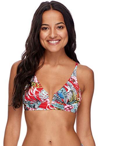 Skye Damen Angel V-Wire Fixed Triangle Bikini Top Swimsuit Bikinioberteil, Lipstick Azalea Floral Print, Small -