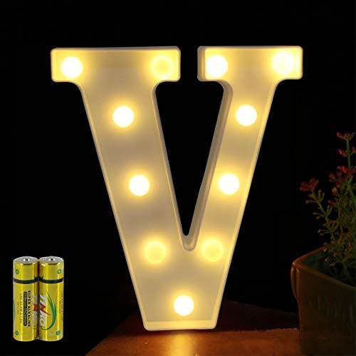 HONPHIER® Buchstaben Lichter Alphabet Lampe LED Brief Beleuchtung Buchstabe Licht Beleuchtete Buchstaben Nachtlichter Dekoration für Geburtstag Party Hochzeit Kinderzimmer (V)