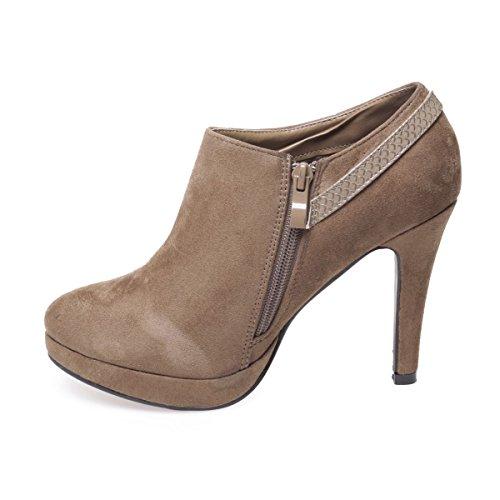 La Modeuse - Low boots aspect daim à talons fins Taupe
