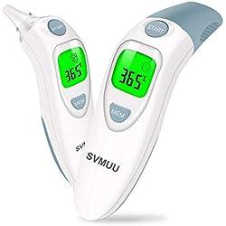 Bébé Thermomètre, SVMUU Numérique Infrarouge Frontal et Oreille Thermomètre pour Bébé, Enfant, Adulte et environnement, mesure en 1s, Mémoire de 20 lectures, alarme fièvre, certifications CE/RoHS/FDA