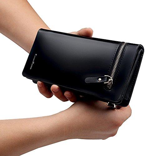 Kaweikaien Herren Lange Geldbörsen,Groß Kapazität Leder Portemonnaie Brieftasche Geldbeutel mit Reißverschluss-Tasche,19,8 * 9,8 * 2,8 cm(Braun) Schwarz
