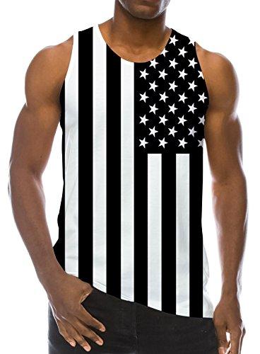 5b83a7d858979 RAISEVERN 3D America Flag Print Funny Pattern Realistic Underwaist Gym Tank  Tops for Men XX-Large