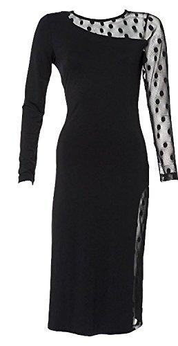 Apart Anspruchvolle Kreation-Ein Jerseykleid m. Netzeinsatz, schwarz N (38)