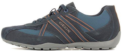 Geox U743FB Ravex Sportlicher Herren Sneaker, Schnürhalbschuh, Freizeitschuh, Snake, atmungsaktiv, Wechselfußbett NAVY/LT NAVY