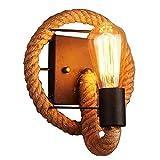 OOFAY LIGHTAmerikanische Wandlampe Nachttisch Lampe Wand hängende Lampe Schlafzimmer Retro kreative Treppen Lichter Gänge Pastorale Eisen Hanfseil Wandleuchten E27 Wandleuchte