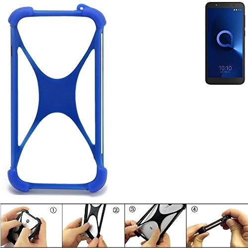 K-S-Trade Bumper Alcatel 1C Single SIM Silikon Schutz Hülle Handyhülle Silikoncase Softcase Cover Case Stoßschutz, blau (1x)
