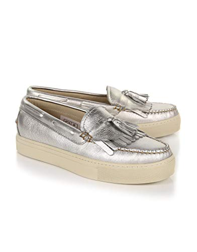 GH Bass Weejuns Cup Esther Metal Tassel Loafers Womens Shoes 39 EU Silver Textured Leather - Bass Loafer