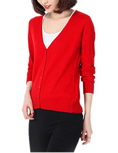 Winfon Damen Strickjacken Stricken Cardigan Elegant Basic Mit V-Ausschnitt Langarm Button Strick Tops (L(Brustumfang 96cm), Rot) (Stricken Wolle Strickjacke)
