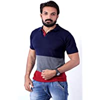 Men's Polo Stripes T-Shirt Navy Blue-Grey & Maroon T-shirt Party wear (men's polo collar stripes t-shirt for Men's Jeans Men's Jeans function T-shirt for Men's 18 years latest mens wear Collar T-Shirt collection 2017 new design Shirts for Men's designer T-Shirts & Polos new collection today low price new T-Shirt for Men's party wear) 202 (Large)