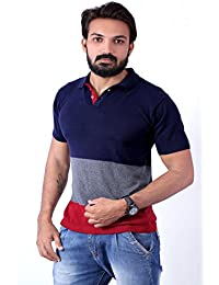 Men's Polo Stripes T-Shirt Navy Blue-Grey & Maroon T-shirt Party Wear (men's Polo Collar Stripes T-shirt For Men's...