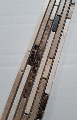 Marmor Mosaik Bordüre 5x30 Naturstein Fliesen Braun Creme Feine Stäbchen -