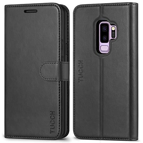TUCCH Galaxy S9 Plus Hülle Handyhülle Galaxy S9 Plus Case TPU-Kunststoff [Magnetverschluss] [Kartenfächern] [Standfunktion] Premium Leder Schutzhülle Galaxy S9 Plus 6,2