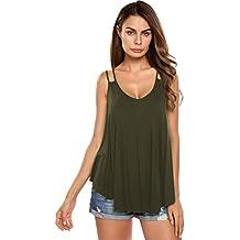 86a96d4962672 Zeagoo Camiseta Tirantes Mujer Blusa Top Sin Mangas De Gasa Casual para  Mujeres