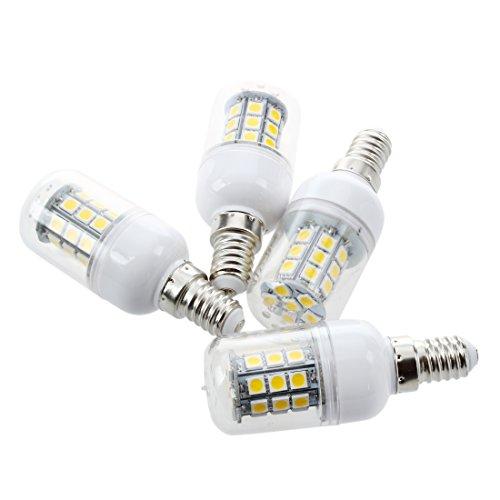 SODIAL(R) 4 x Bombilla Lampara Luz Blanco Calido E14 30 LED 5050...