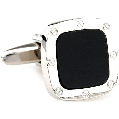 el tono de plata Classic Gemelos ágata negro