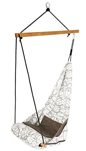 AMAZONAS Edler Hängesessel Hang Solo Macchiato mit Längsstab aus Holz 100 cm bis 150kg weiß-braun Gemustert (Baby Schaukel Unter $50)