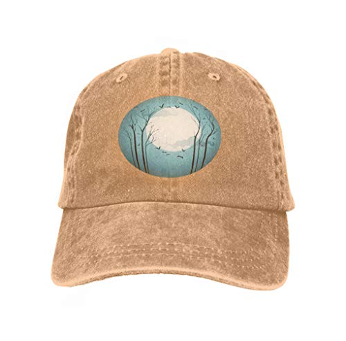 Unisex Flat Bill Hip Hop Cap Baseball Hat Head-Wear Cotton Trucker Hats Starry Halloween Night Nature Sand Color