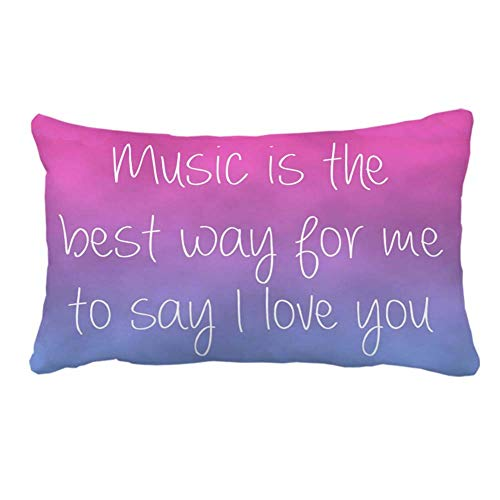 fujianshen I Love You Quotes on Pink Purple Pillow Cover Case for Couch Sofa Home Decoration 20 x 30