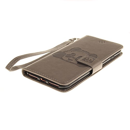 Leather Case Cover Custodia per iPhone 6 6S (4,7 Zoll) ,Ecoway Caso / copertura / telefono Panda goffratura Disegno retro della del modello PU con a Bookstyle tasche carte di credito funzione con inte grigio