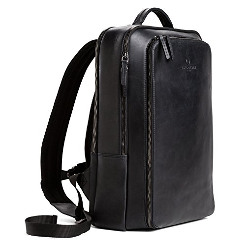 OFFERMANN Lederrucksack Backpack for Men klassisch minimalistisch inklusive 15 Zoll Laptopfach 13 Liter schwarz
