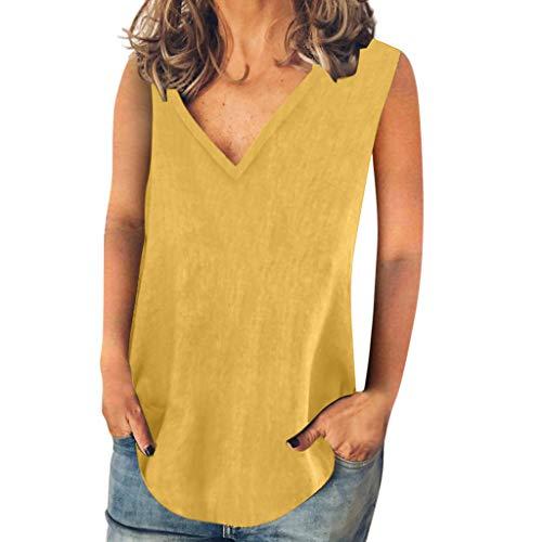 LOPILY Basic Tank Damen Einfarbiges Lose Oberteil V-Ausschnitt Ärmellos Bluse Luftiges Weiches Tunika Damen Sommer A-Linie Shirt Freizeit Bluse Urlaub Bekleidung (Gelb, Gr.36)