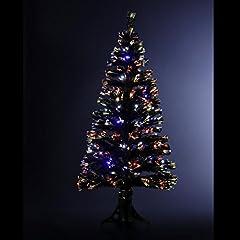 Idea Regalo - DECORAZIONE NATALIZIA - Albero di Natale artificiale luminoso in fibra ottica + 88 LED - Consegnato col piede di base - Gioco di luci con scatola di controllo - Altezza 90 cm - Colore: NERO