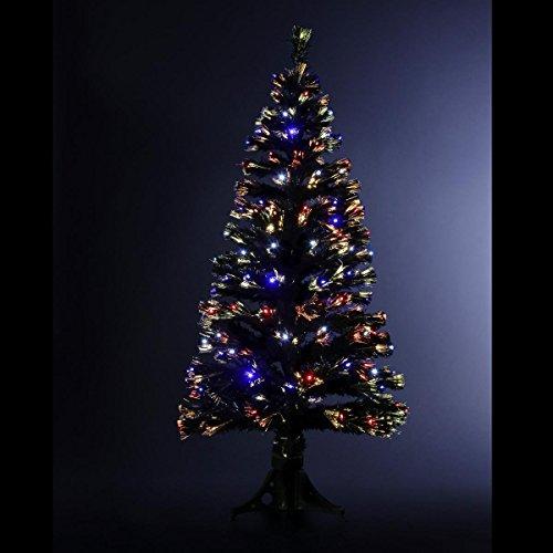 DECORACION NAVIDAD - Arbol de Navidad artificial luminoso de fibra óptica + 88 LED - Entregado con su pie - Juegos de luces con teclado de control - Altura 90 - Color NEGRO