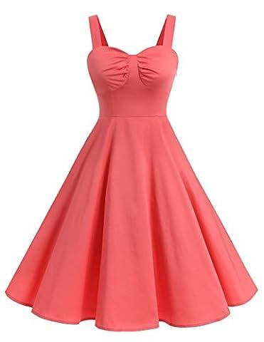 Dresstells® Shoulder Straps 1950s Retro Audrey Swing Pinup Rockabilly Dress Pleated Skirt Coral M