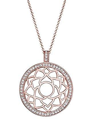 Elli Premium Damen-Kette mit Anhänger Chakra Hindu 925 Silber rosé Swarovski Kristall Brillantschliff 80 cm - 0112510815_80