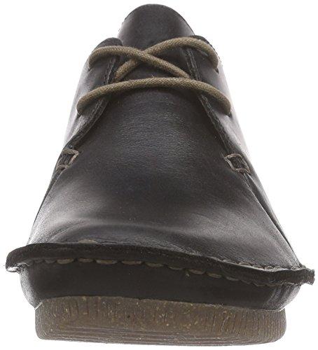 Clarks Janey Mae Damen Derby Schnürhalbschuhe Schwarz (Black Leather)