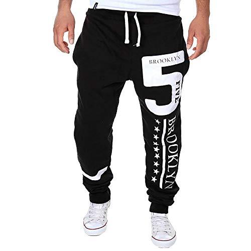 YEBIRAL Hosen Herren Jogger Slim Stretch Fitnesshose Trainingshose Sweatpants Jogginghose Sporthose mit Aufdruck Sportlicher Stil Fit Herren (M,Schwarz) (Slim Sportliche Herren Trainingshose)