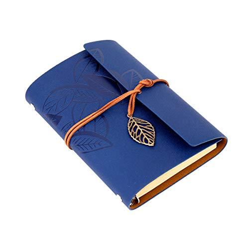 Diario di viaggio in ecopelle vintage taccuino pagina bianca quaderno per quaderno degli appunti memo agenda,blu scuro
