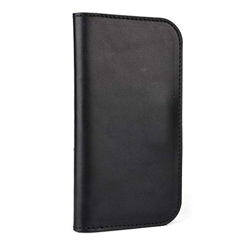 Portefeuille en cuir véritable étui pour Vodafone Smart 4G Coque Brun - peau noir - noir