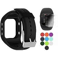 Polar A300 con protezione dello schermo, bracciale in silicone per sostituzione TUSITA WristBand per Smart Watch Polar (NERO)