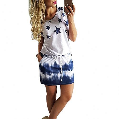 FeiXing158 Dress Print Sommerkleid Drawstring Slim Damen O Neck Kleid Short Sleeve