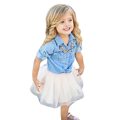 JIANGFU Tochter der Mutter und Tochter mit einem Cowboy Jacke Rock Anzug Elternausstattung,Mommy und ich Kinder Mädchen Denim T-Shirt Tops + Rock Kleid Familie Kleidung Outfits Set (130) (Jacke-top-rock-hose)